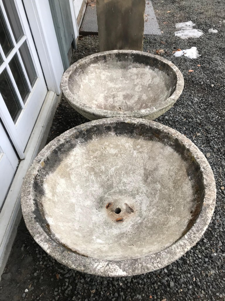 20th Century Pair of Large Round French Cast Stone Bowl Planters on Integral Feet #1 For Sale