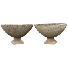Pair of Large Round French Cast Stone Bowl Planters on Integral Feet #1