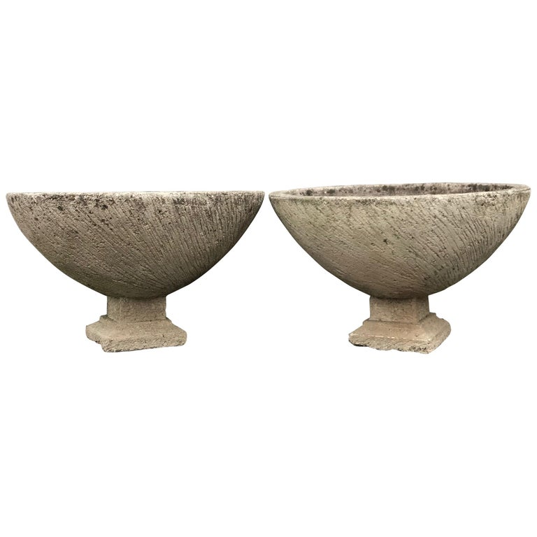 Pair of Large Round French Cast Stone Bowl Planters on Integral Feet #1 For Sale