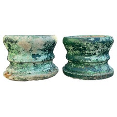 Pair of Large Round French Cast Stone Planters in Green-Painted Surface