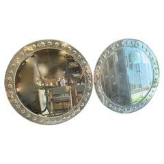 Pair of Large Round Mid-Century Venetian Mirrors