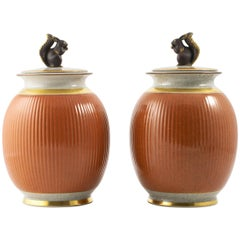 Pair of Large Royal Cph. Lidded Crakle Glaze Vases with Squirrel Decoration