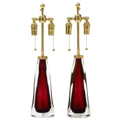 Pair of Large Ruby Red Orrefors Lamps