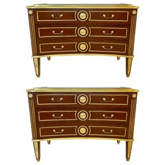 Pair of Large Russian Neoclassical Style Inverted Front Commodes Chests