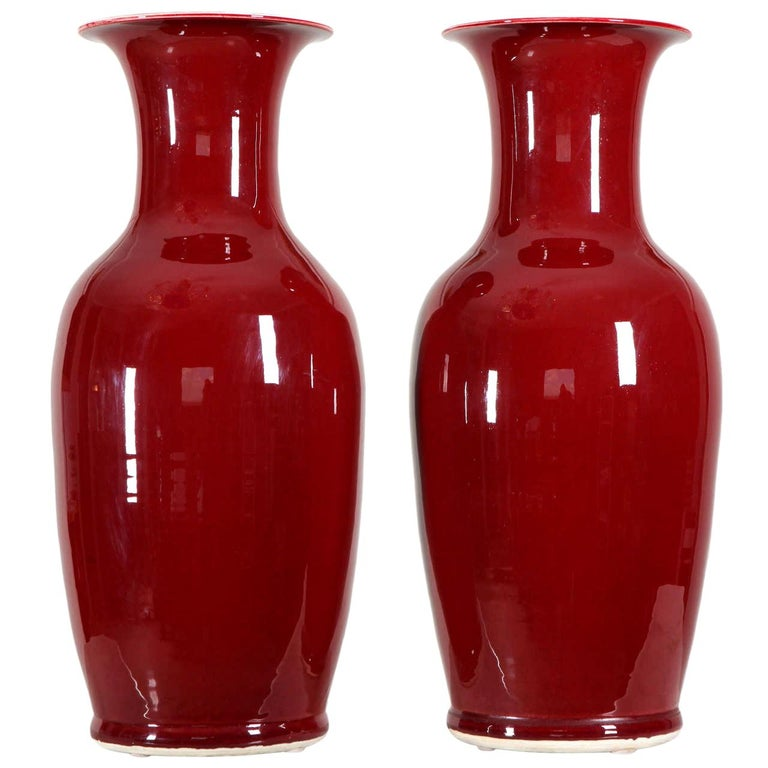 Pair of Large Sang-de-boeuf Glazed Vase, Early 20th Century For Sale
