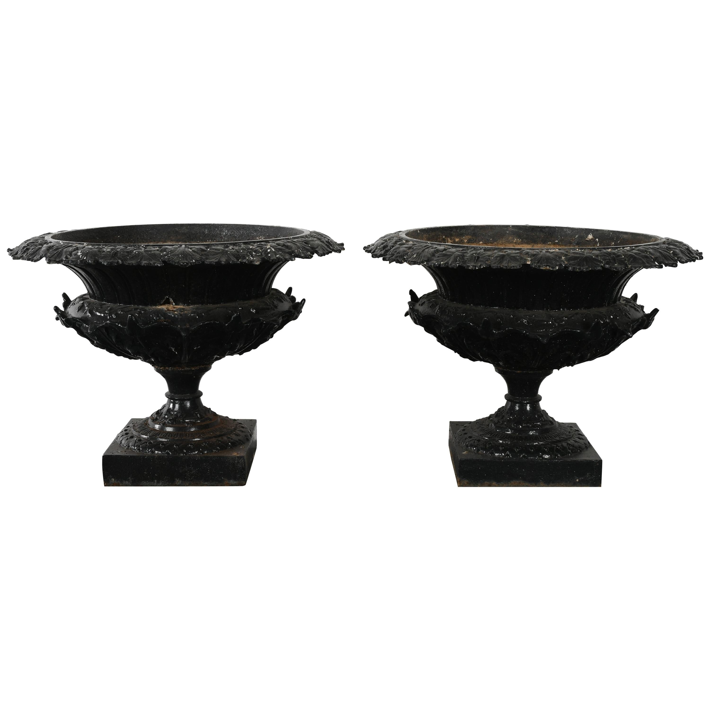 Pair Of Large Scale 19th Century Cast Iron Garden Urns