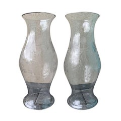 Pair of Large Scale 19th Century Etched Glass Hurricanes