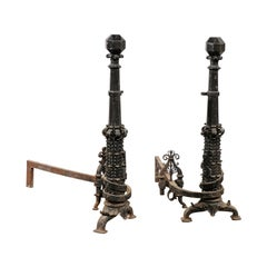 Pair of Large Scale American Andirons, circa 1880-1920