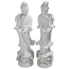 Pair of Large Scale Blanc de Chine Quan Yin Figures