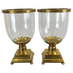Pair of Large Scale Brass and Blown Glass Hurricanes