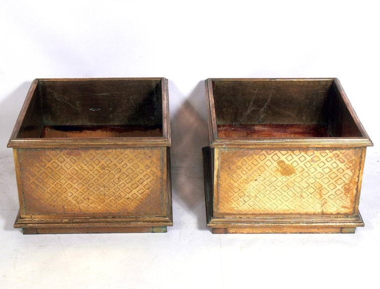Pair of large-scale brass planters by Rodolfo Dubarry, Spanish, circa 1960s. Signed with impressed signature