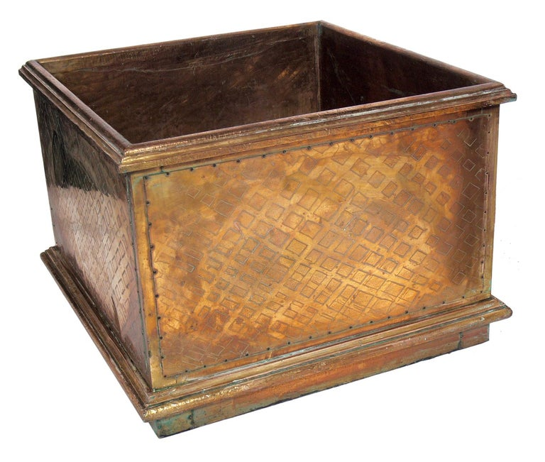 Pair of Large Scale Brass Planters by Rodolfo Dubarry In Distressed Condition For Sale In Atlanta, GA