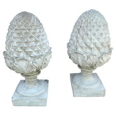 Pair of Large Scale Cast Stone Garden Artichoke Finials