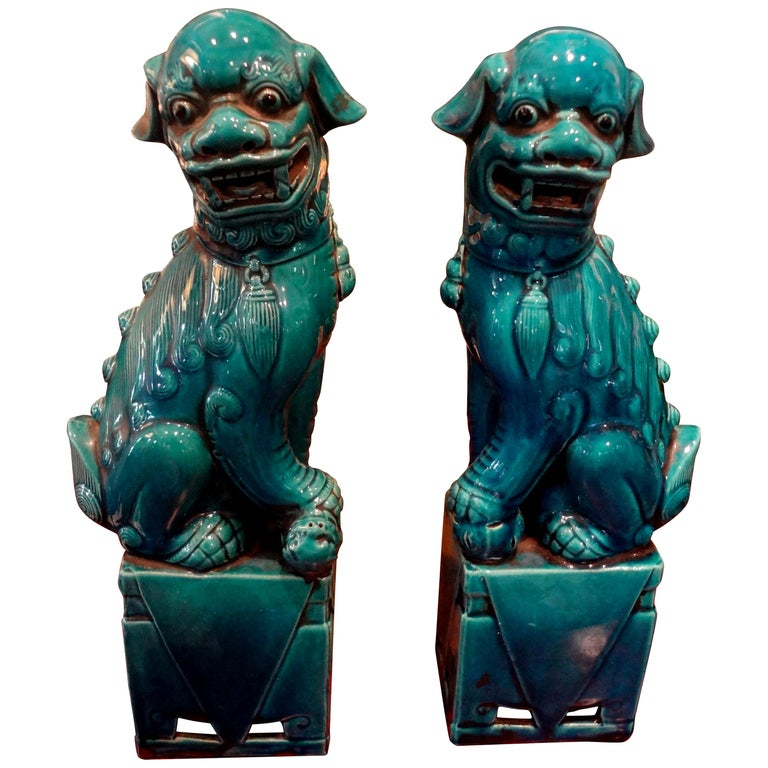 Pair of Large Scale Chinese Glazed Porcelain Foo Dogs or Foo Lions For Sale