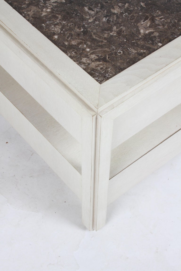 Pair of Large Scale Custom End Tables with Marble Tops by Designer Arthur Elrod For Sale 4