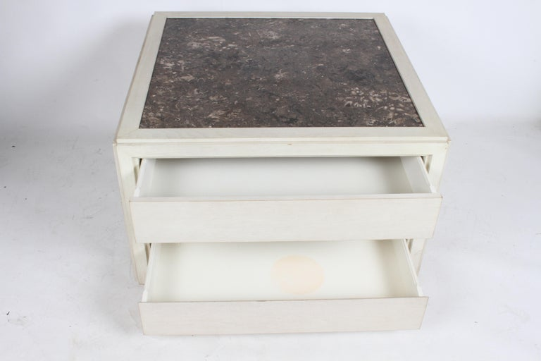 Pair of Large Scale Custom End Tables with Marble Tops by Designer Arthur Elrod For Sale 6