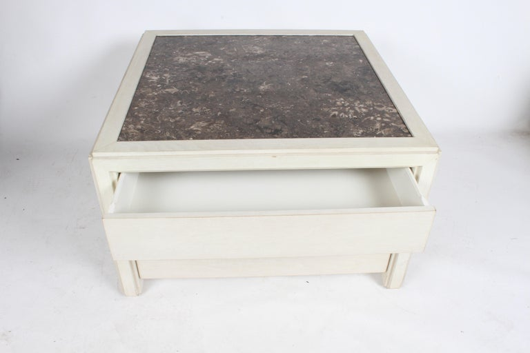 Pair of Large Scale Custom End Tables with Marble Tops by Designer Arthur Elrod For Sale 9