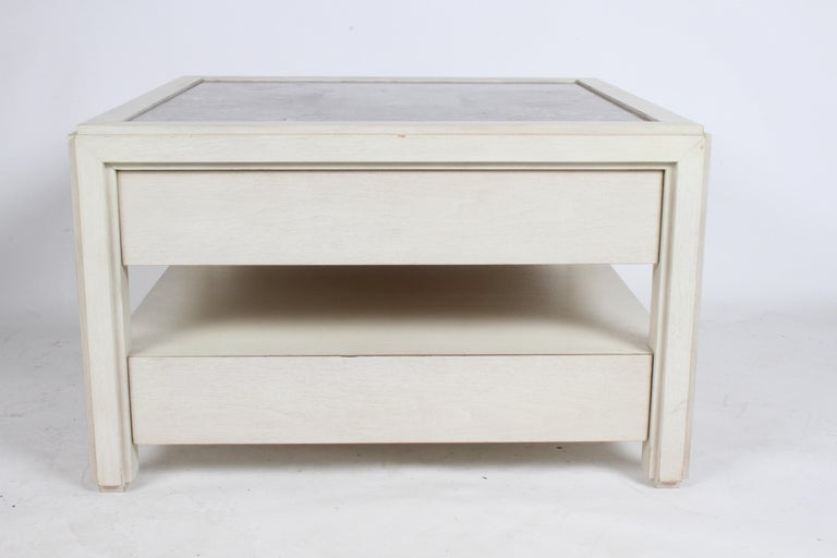 American Pair of Large Scale Custom End Tables with Marble Tops by Designer Arthur Elrod For Sale