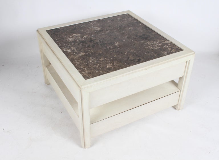 Pair of Large Scale Custom End Tables with Marble Tops by Designer Arthur Elrod In Good Condition For Sale In St. Louis, MO