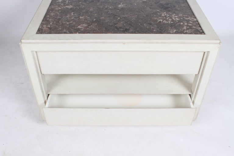 Mid-20th Century Pair of Large Scale Custom End Tables with Marble Tops by Designer Arthur Elrod For Sale
