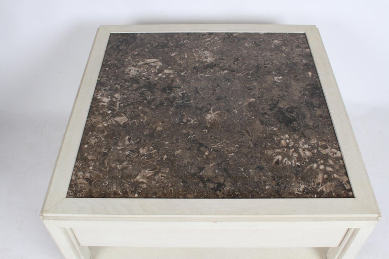 Pair of Large Scale Custom End Tables with Marble Tops by Designer Arthur Elrod For Sale 2