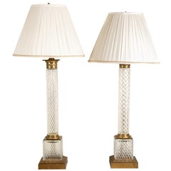 Pair of Large Scale Cut Crystal Column Lamps