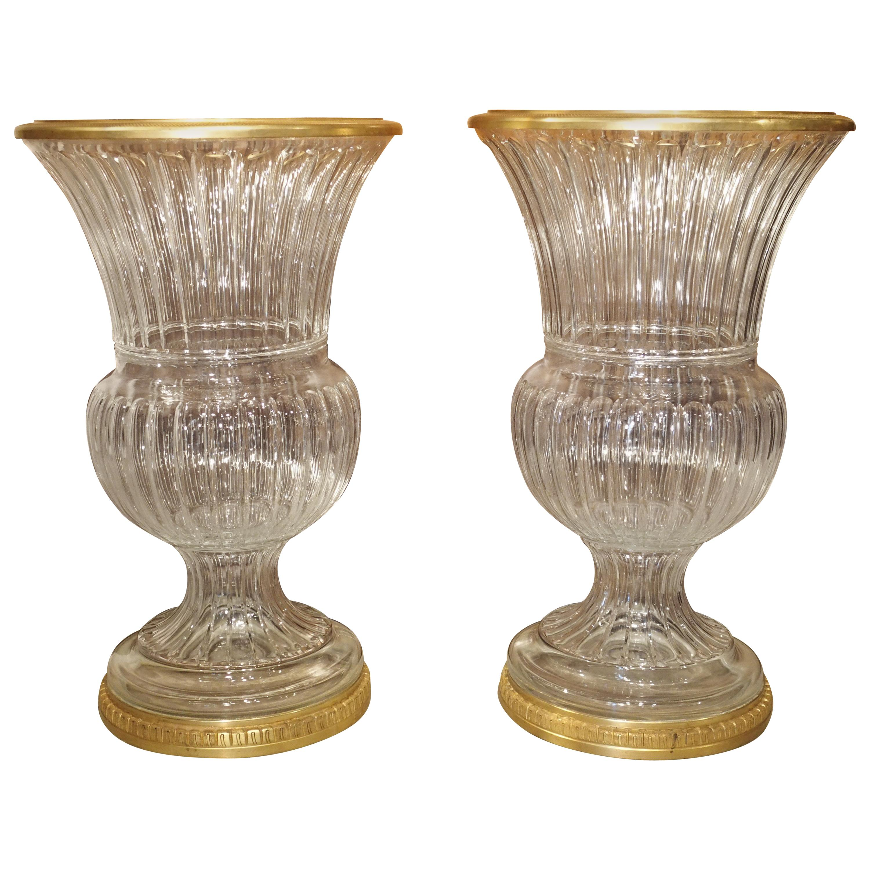 Pair of Large Scale French Cut Crystal and Gilt Bronze Vases