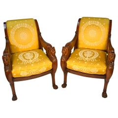 Pair of Large Scale French Empire Mahogany Armchairs by Jacob Desmalter