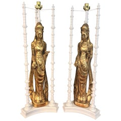 Pair of Large Scale Gilt Quan Yin Lamps, in the Style of James Mont