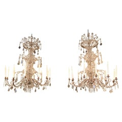 Pair of Large Scale Italian Beaded 12-Light Chandeliers
