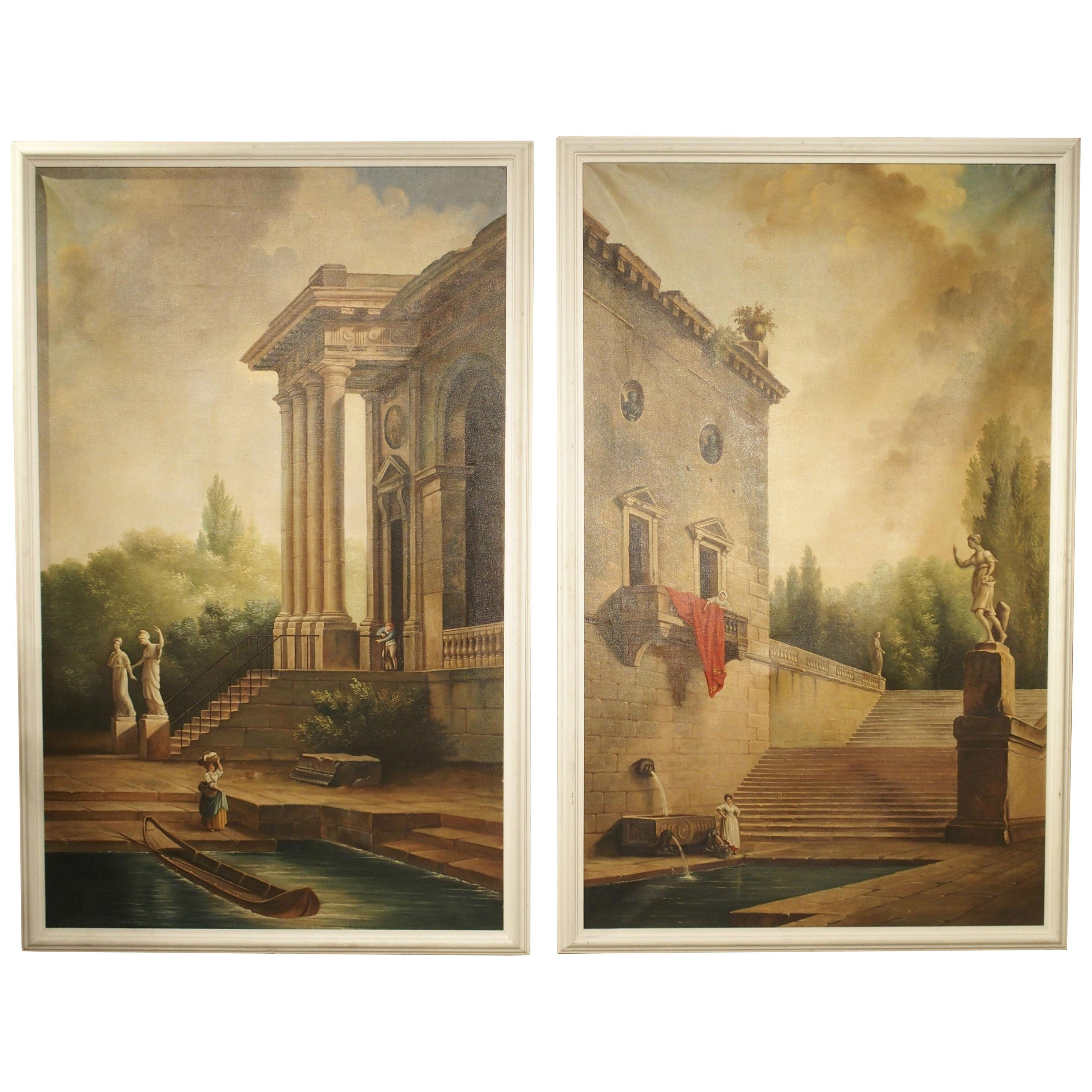 Pair of Large Scale Italian Landscape Oil on Canvas Paintings, Early 1900s