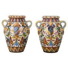Pair of Large-Scale Italian Majolica Terracotta Urns, 20th Century