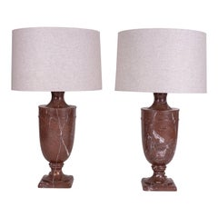 Pair of Large Scale Marble Lamps