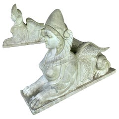 Pair of Large Scale Marble Sphinx Garden Statues Sculptures