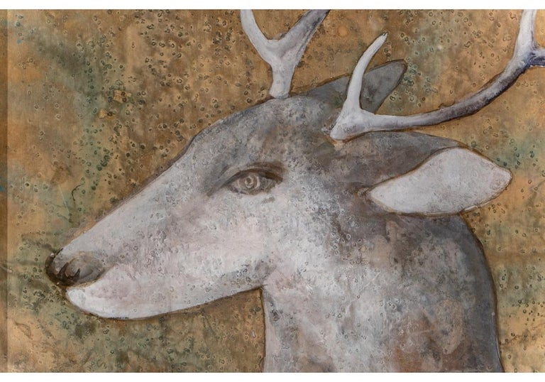 Pair of Large Scale Midcentury Asian Style Works on Paper of Stags at Night For Sale 6