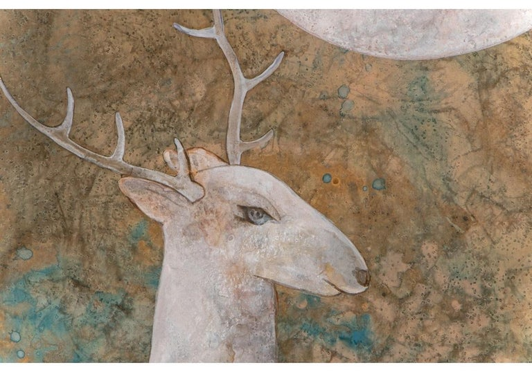 Pair of Large Scale Midcentury Asian Style Works on Paper of Stags at Night In Good Condition For Sale In Bridgeport, CT