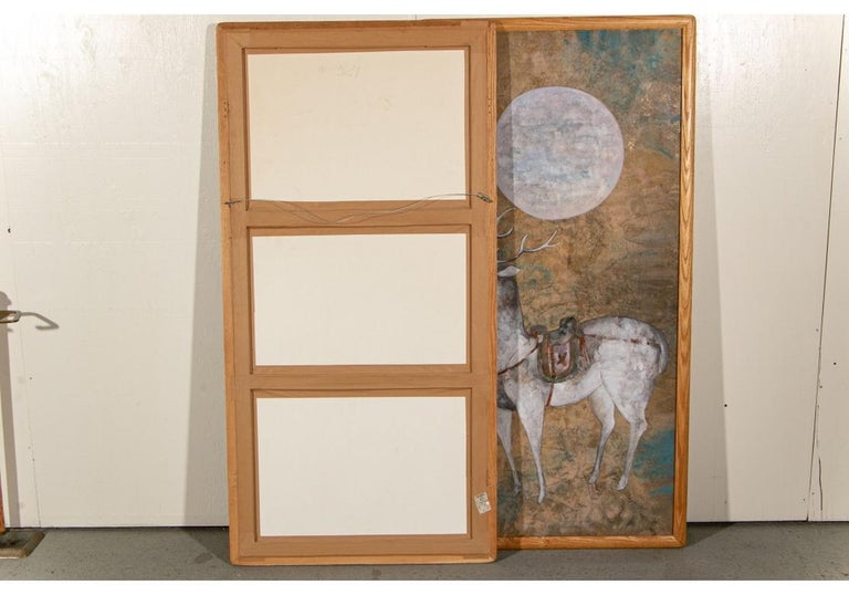 Pair of Large Scale Midcentury Asian Style Works on Paper of Stags at Night For Sale 2