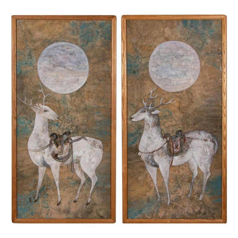 Pair of Large Scale Midcentury Asian Style Works on Paper of Stags at Night For Sale