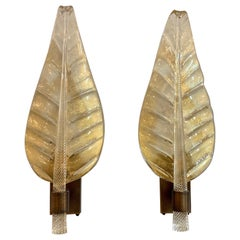 Pair of Large Scale Modern Murano Glass Leaf Form Sconces