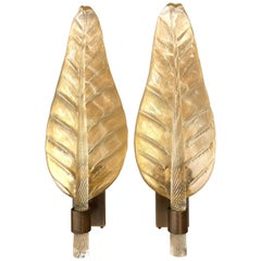 Pair of Large Scale Murano Glass Leaf Form Sconces