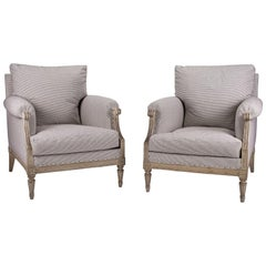 Pair of Large-Scale Painted Bergère Armchairs in Ticking