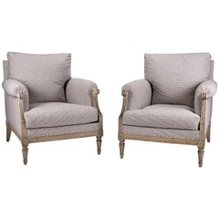 Pair of Large Scale Painted Bergère Armchairs in Ticking