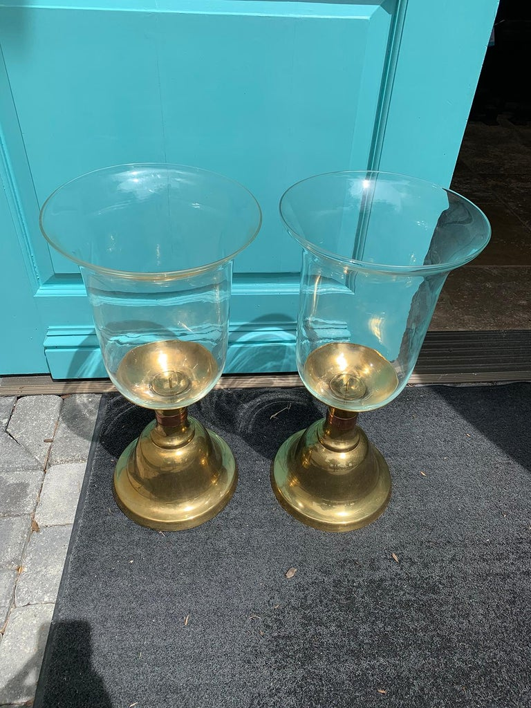 Late 20th Century Pair of Large Scale Sarreid Brass Candlesticks with Hurricane, circa 1980s For Sale