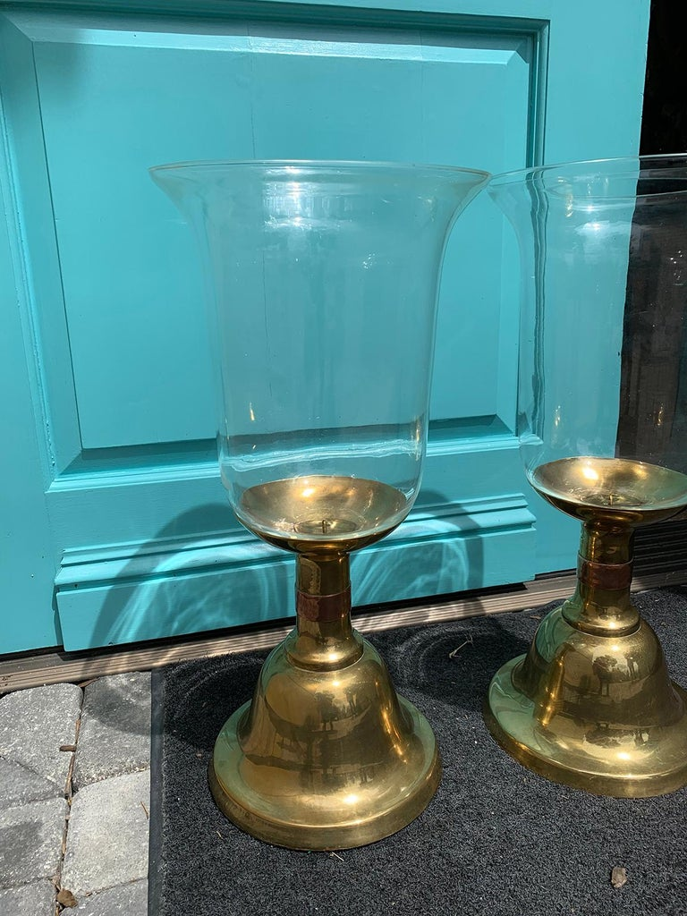 Pair of Large Scale Sarreid Brass Candlesticks with Hurricane, circa 1980s For Sale 2