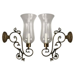 Nautical  Scrolled-Arm Hurricane Sconces
