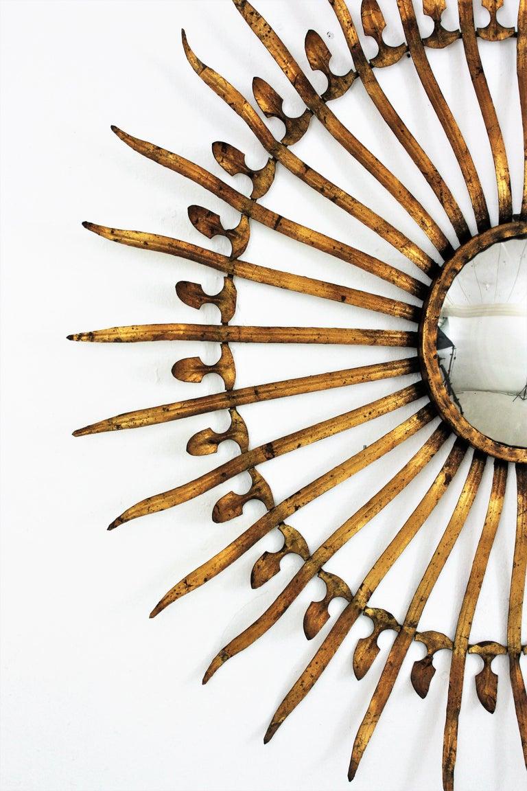 Pair of Sunburst Starburst Gilt Iron Convex Mirrors in Large Scale For Sale 4