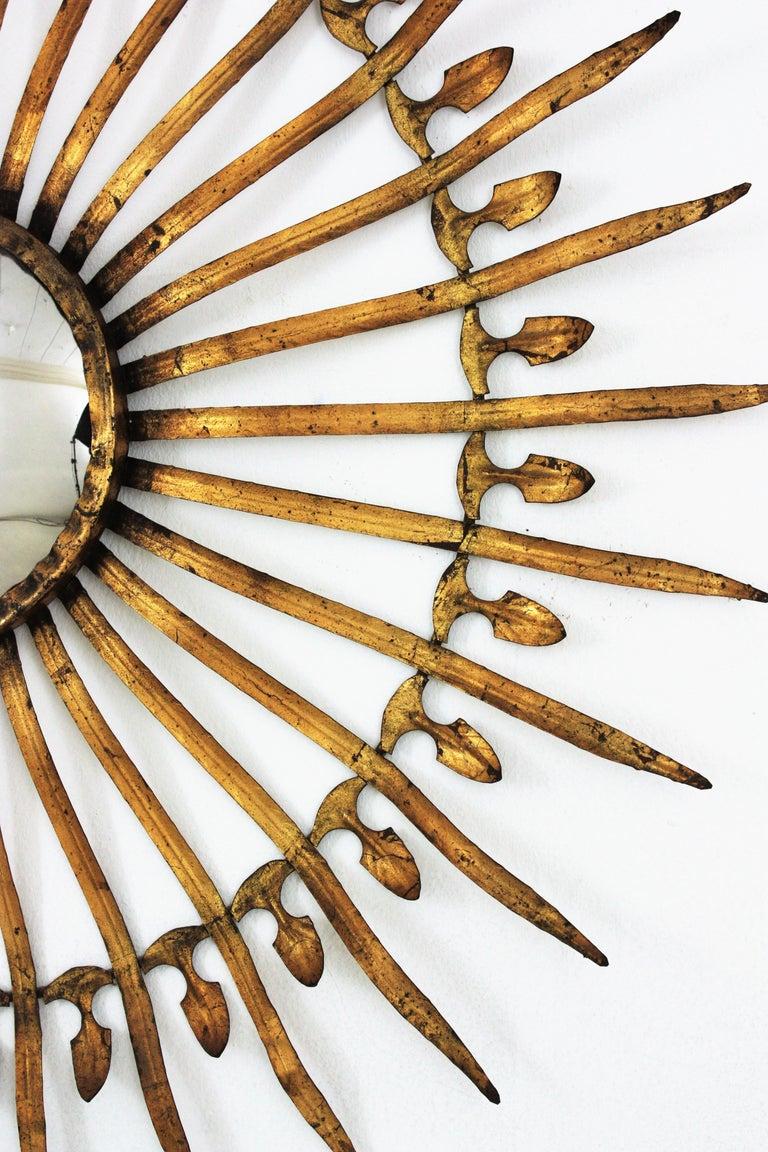 Pair of Sunburst Starburst Gilt Iron Convex Mirrors in Large Scale For Sale 5