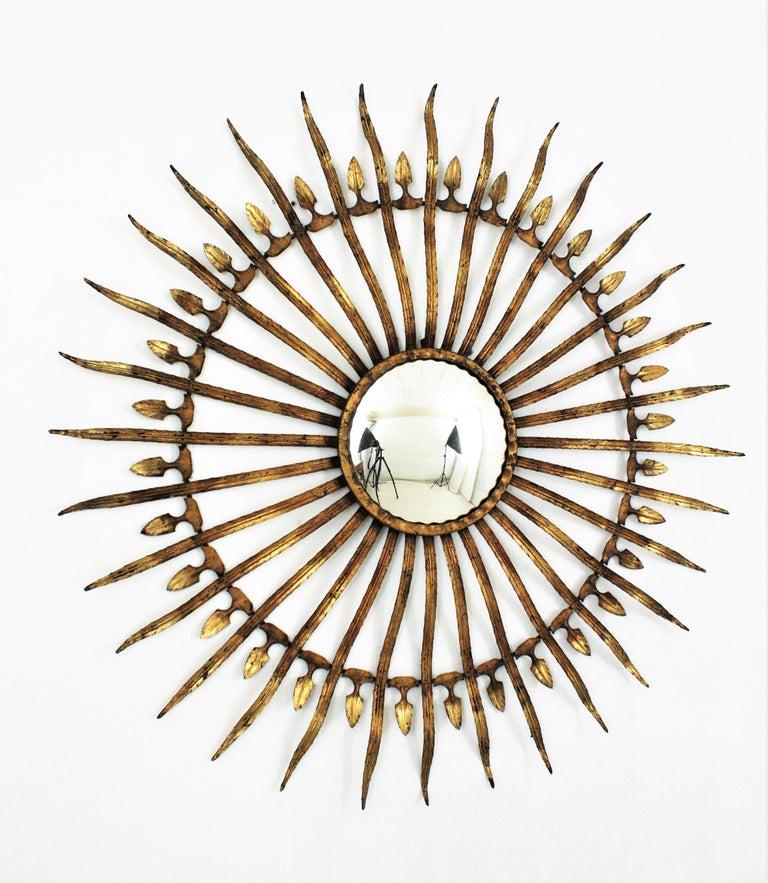Pair of Sunburst Starburst Gilt Iron Convex Mirrors in Large Scale For Sale 7