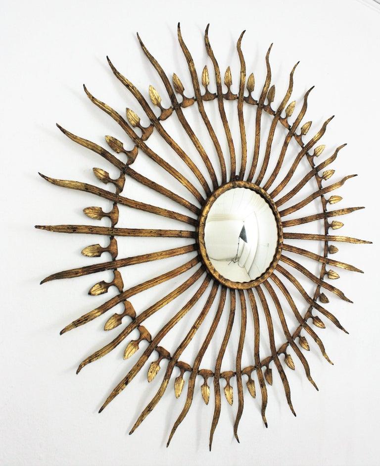Pair of Sunburst Starburst Gilt Iron Convex Mirrors in Large Scale For Sale 8