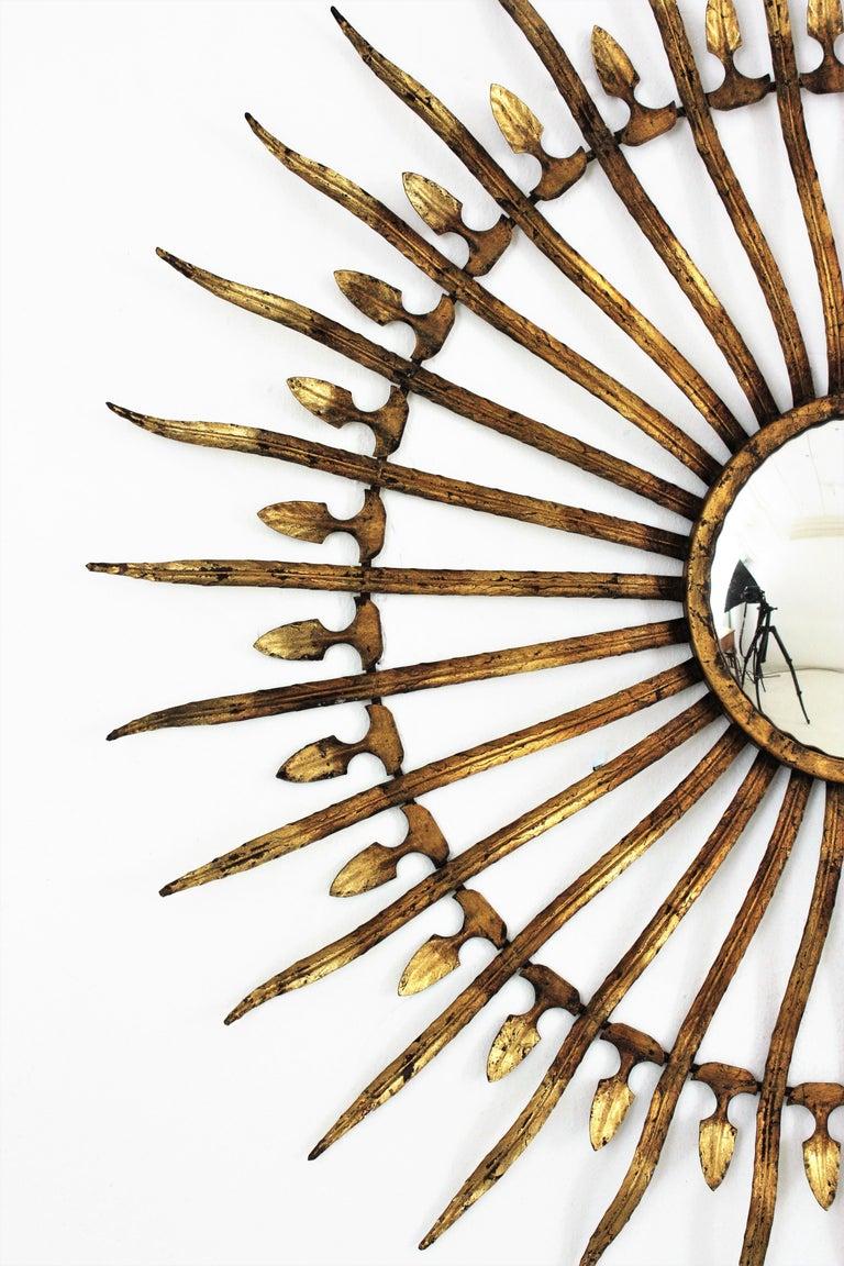 Pair of Sunburst Starburst Gilt Iron Convex Mirrors in Large Scale For Sale 9